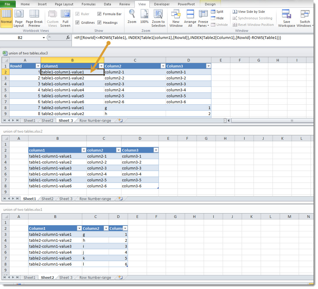 Create the union of two tables in excel dr james bayley for Excel table design