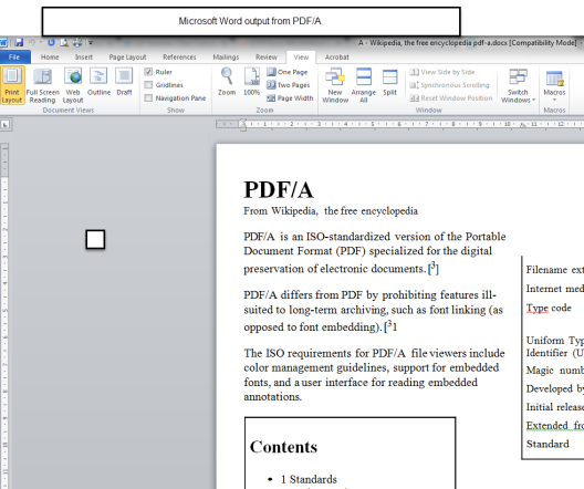 Word from PDF-A