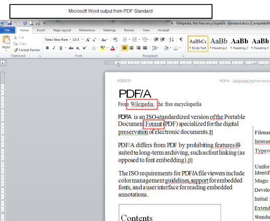 Word from PDF Standard