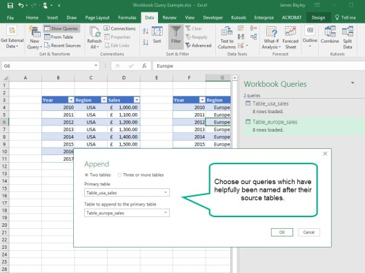Create the Union of two tables in Excel revisited | Dr James