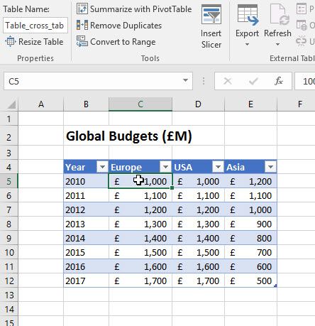how to create a data table in excel 2016