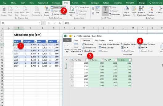 Using Excel 2016 to unpivot data | Dr James Bayley